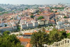 Aerial View Of Lisbon City Rooftops, Portugal royalty free stock photos