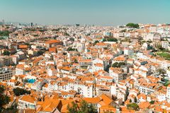 Aerial View Of Lisbon City Rooftops, Portugal stock photo