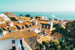 Aerial View Of Lisbon City Rooftops, Portugal stock image