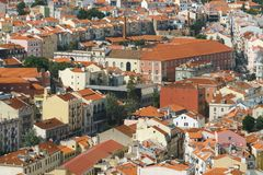 Aerial View Of Lisbon City Rooftops, Portugal royalty free stock photography