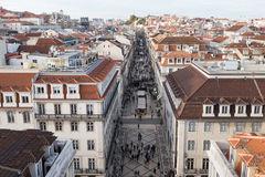 Aerial view of Lisbon cityscape. Aerial view of main street Rua Augusta in isbon, Portugal cityscape Royalty Free Stock Photo