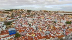 Aerial view of Lisbon stock footage