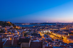 Aerial view of Lisbon rooftop from Senhora do Monte viewpoint (M Royalty Free Stock Photography