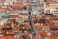 Aerial View on Lisbon and Santa Justa Lift from Above Stock Photos