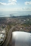 Aerial view of Lisbon - Vasco da Gama Bridge Royalty Free Stock Image