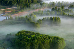 Aerial view of Lithuanian countryside Royalty Free Stock Image
