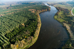 Aerial view of Lithuanian countryside at  fall Stock Photo