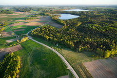 Aerial view of Lithuanian countryside at spring