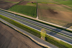 Aerial view of Lithuanian countryside at spring Royalty Free Stock Photos