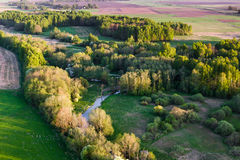 Aerial view of Lithuanian countryside at spring Royalty Free Stock Image