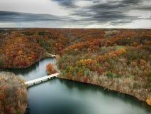 Aerial view of Little Seneca Lake at Black Hill Reginal Park. Part of Clarksburg - Maryland, USA royalty free stock image