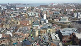 Aerial view of Liverpool, England stock video footage