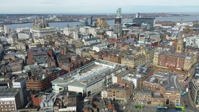 Aerial view of Liverpool, England stock video