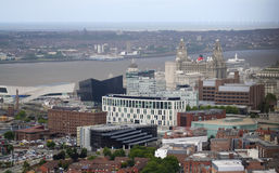 An Aerial View of Liverpool Looking Northwest Royalty Free Stock Images