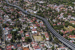 Aerial view of living area and main road in mexico city Royalty Free Stock Photos