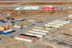 Aerial view on the living blocks and runway of Kangerlussuaq air. Port, Greenland Stock Photos