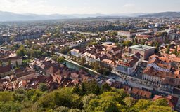 Aerial view of Ljubljana Royalty Free Stock Photography