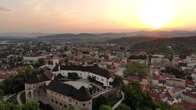 Aerial view of Ljubljana, capital of Slovenia in sunset. stock footage