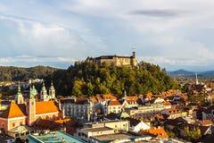 Aerial view of Ljubljana's castle Stock Image