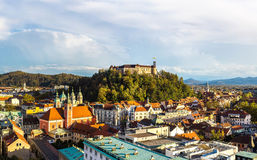 Aerial view of Ljubljana in Slovenia Royalty Free Stock Photos