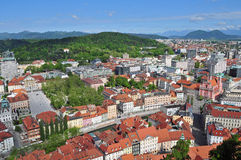 Aerial view of Ljubljanas old city center Stock Photography