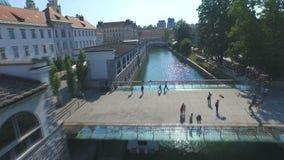 Aerial view of Ljubljanica river and city of Ljubljana, Slovenia.