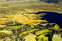 Aerial view of lke mead. Taken in a helicopter whilst flying over lake mead in Arizona Stock Images