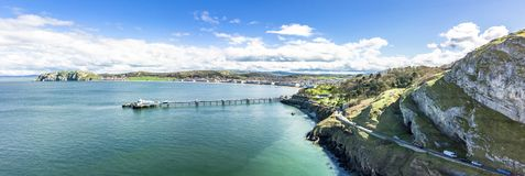 Aerial view of Llandudno with pier in Wales - United Kingdom.  Royalty Free Stock Image