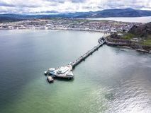 Aerial view of Llandudno with pier in Wales - United Kingdom.  Stock Photography