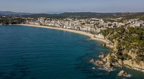 Aerial view of Lloret de Mar coastal town in Catalonia. Spain Stock Images