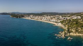 Aerial view of Lloret de Mar coastal town in Catalonia. Spain Royalty Free Stock Photography