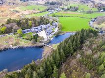Aerial view of Llynnau Mymbyr are two lakes located in Dyffryn Mymbyr, a valley running from the village of Capel Curig royalty free stock photo