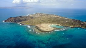 Aerial view of lobos island, canary islands stock images