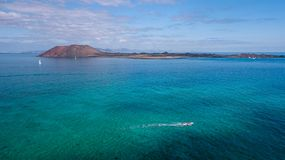 Aerial view lobos island, fuerteventura stock photos