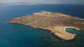 Lobos island. Aerial view of lobos island, fuerteventura, canary islands Stock Image