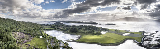 Aerial view of Loch Laich with the view to Lismore stock image