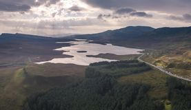 Aerial view of the Loch Leathan close to the Old Man of Storr, Isle of Skye, Scotland royalty free stock photos