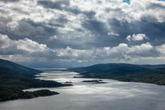 Aerial view of Loch Riddon on Cowal peninsula Argyll and Bute Sc. Dramatic sky over the Loch Ruel or Loch Riddon lake on the Cowal peninsula at Argyll and Bute Stock Image