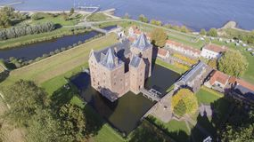Aerial view on the Loevestein Castle royalty free stock photography