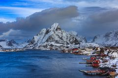 Aerial view of lofoten islands in winter time reine royalty free stock photos