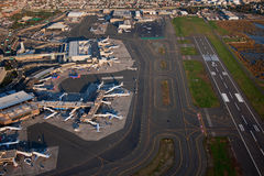 Aerial view of Logan Airport royalty free stock photo