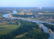 Aerial view of Loire river Royalty Free Stock Images