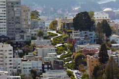 Aerial view of Lombard Street in San Francisco, California Stock Images