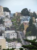 Aerial view of Lombard street in San Francisco Royalty Free Stock Photography