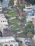 Aerial view of Lombard street in San Francisco stock photo
