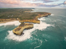 Aerial view of the London Bridge rock formation Stock Images