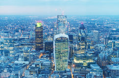 Aerial view of London Business District Stock Photo