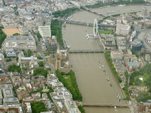 Aerial View of London. Aerial View of Central London and the River Thames Stock Image