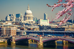 Aerial view on London city. Aerial view on Blackfriars bridge and city of London Stock Photo