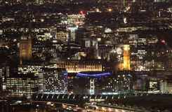 Aerial view of London city at night Royalty Free Stock Photos